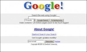 Google's Homepage circa 1997