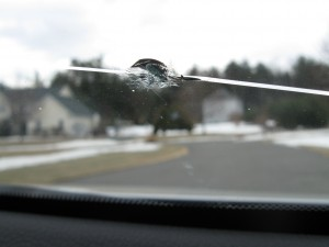 Windshield chipped by a rock