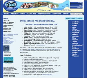 Old Center for Study Abroad Website